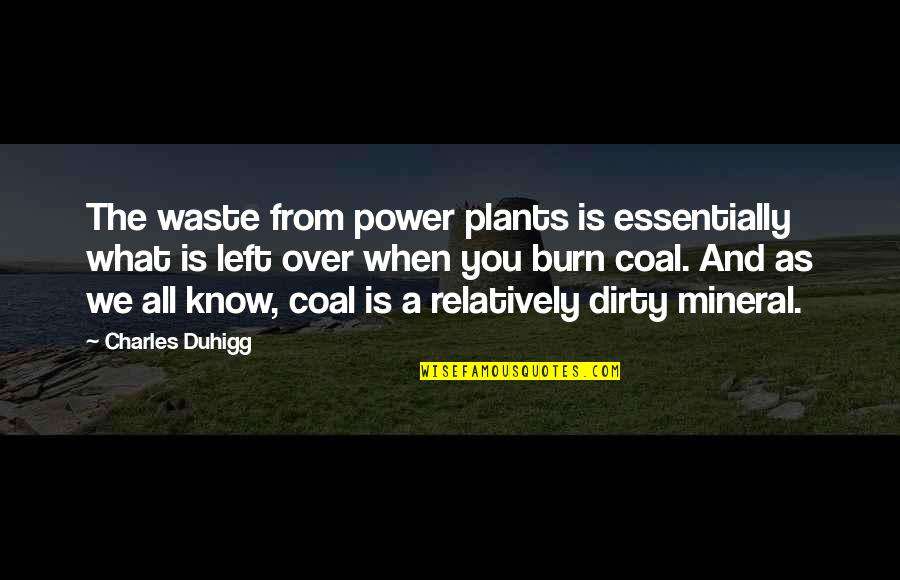 Power Plants Quotes By Charles Duhigg: The waste from power plants is essentially what