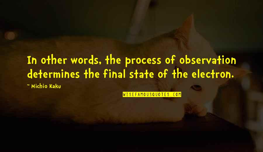 Power Plants Quotes By Michio Kaku: In other words, the process of observation determines