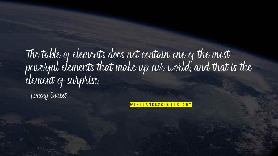 Powerful And Funny Quotes By Lemony Snicket: The table of elements does not contain one