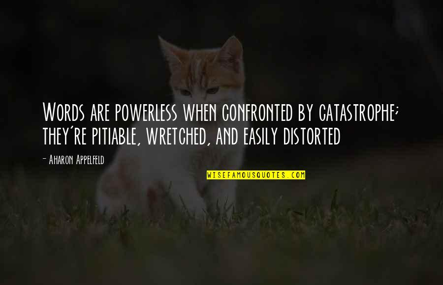 Powerless Quotes By Aharon Appelfeld: Words are powerless when confronted by catastrophe; they're