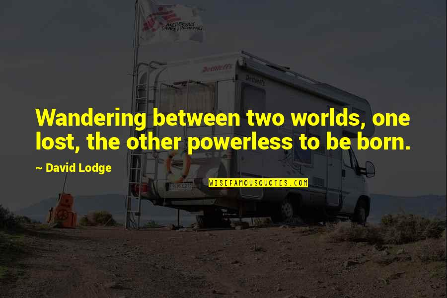 Powerless Quotes By David Lodge: Wandering between two worlds, one lost, the other
