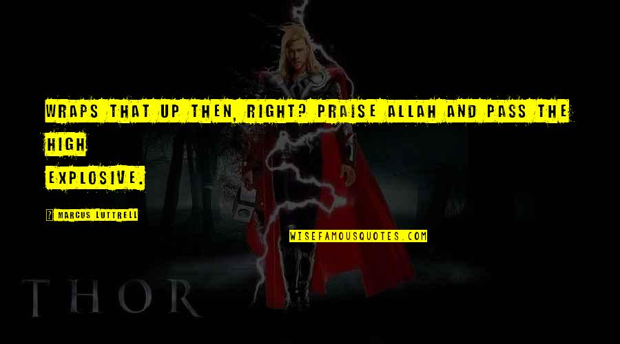Praise To Allah Quotes By Marcus Luttrell: Wraps that up then, right? Praise Allah and