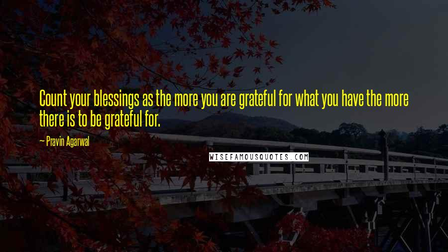 Pravin Agarwal quotes: Count your blessings as the more you are grateful for what you have the more there is to be grateful for.