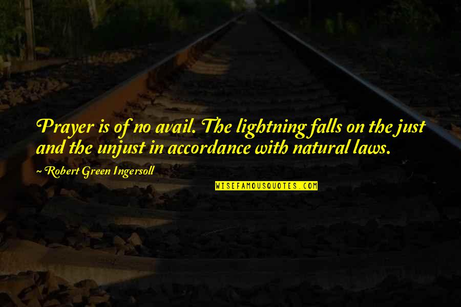 Prayer And Quotes By Robert Green Ingersoll: Prayer is of no avail. The lightning falls