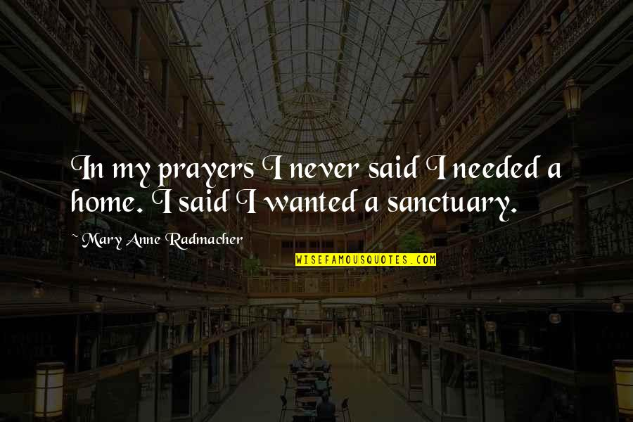 Prayers Needed Quotes By Mary Anne Radmacher: In my prayers I never said I needed