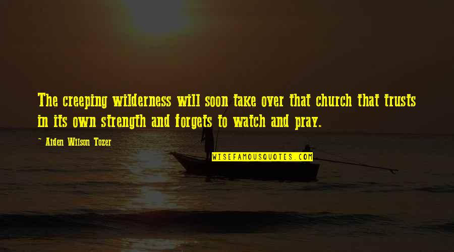 Praying For Strength Quotes By Aiden Wilson Tozer: The creeping wilderness will soon take over that