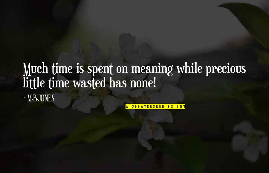 Precious Time Quotes By M.B.JONES: Much time is spent on meaning while precious