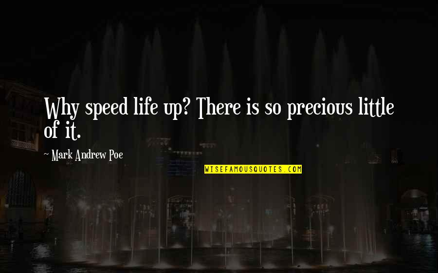 Precious Time Quotes By Mark Andrew Poe: Why speed life up? There is so precious