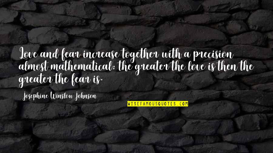 Precision Quotes By Josephine Winslow Johnson: Love and fear increase together with a precision