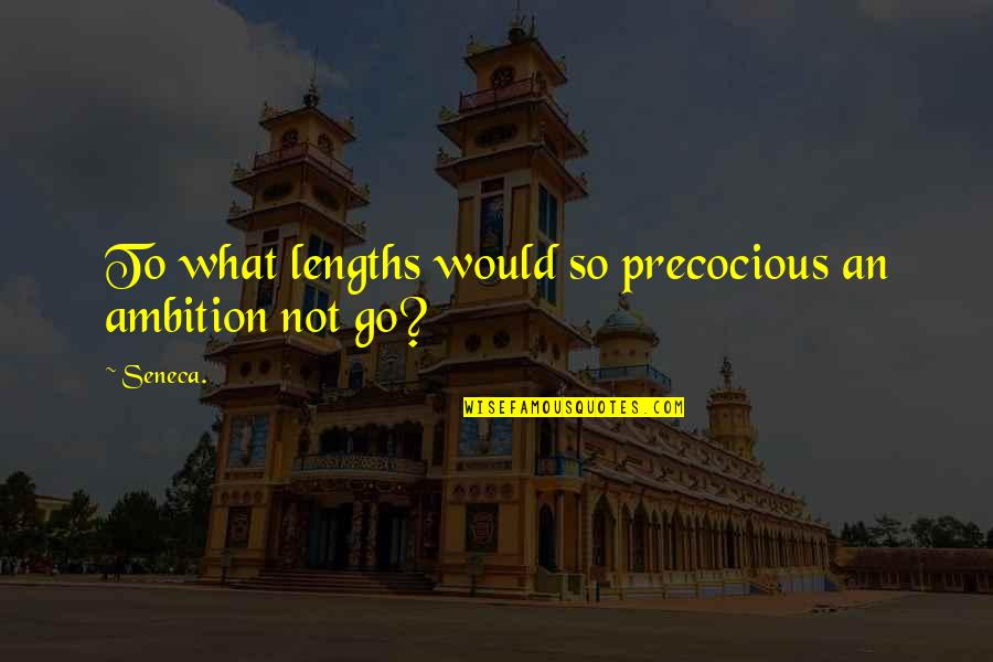Precocious Quotes By Seneca.: To what lengths would so precocious an ambition