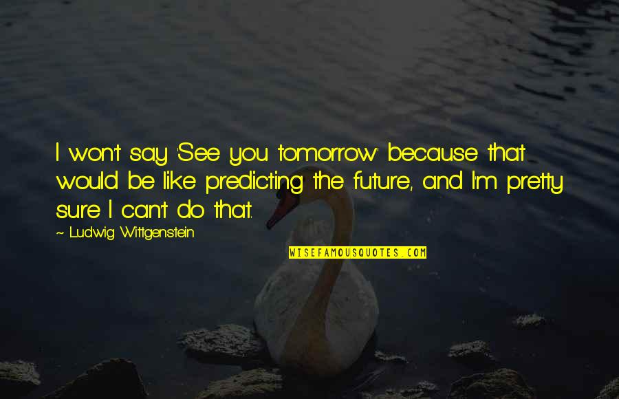 Predicting The Future Quotes By Ludwig Wittgenstein: I won't say 'See you tomorrow' because that