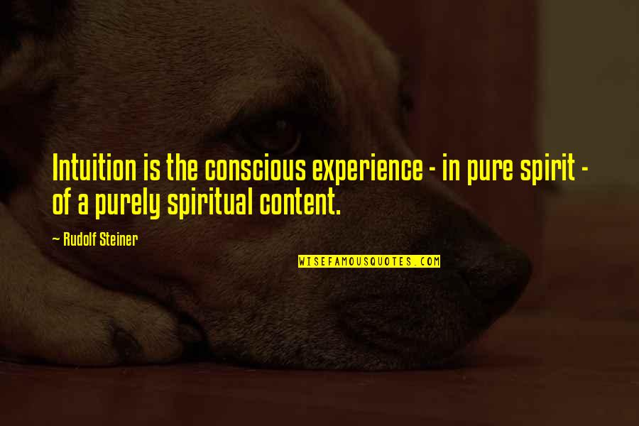 Prem Tihan Quotes By Rudolf Steiner: Intuition is the conscious experience - in pure