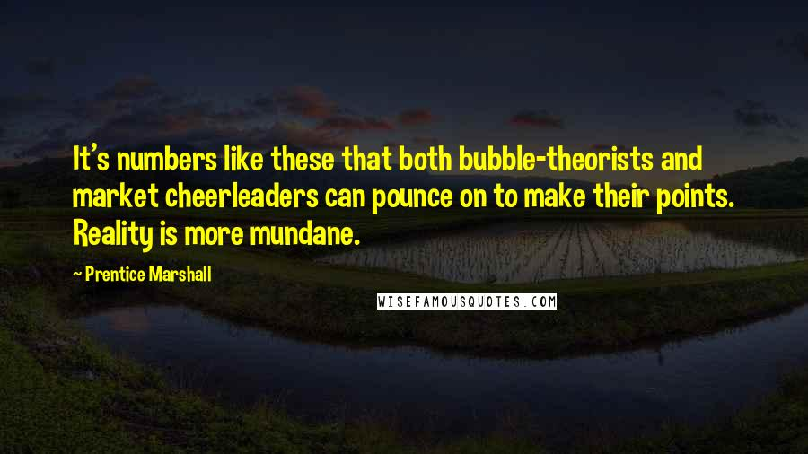 Prentice Marshall quotes: It's numbers like these that both bubble-theorists and market cheerleaders can pounce on to make their points. Reality is more mundane.
