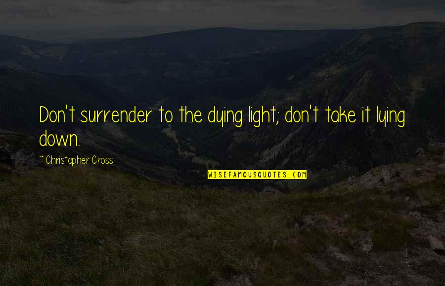 Preppy Quotes And Quotes By Christopher Cross: Don't surrender to the dying light; don't take