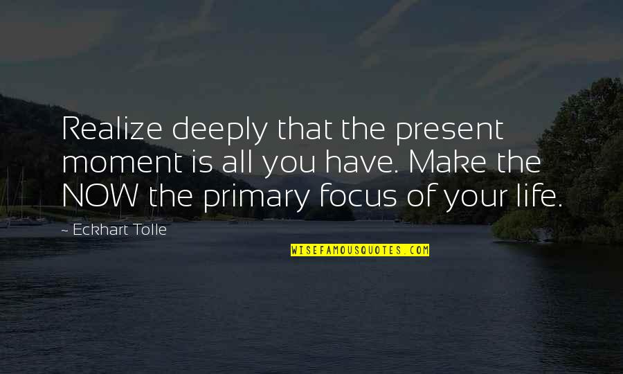 Present In The Moment Quotes By Eckhart Tolle: Realize deeply that the present moment is all