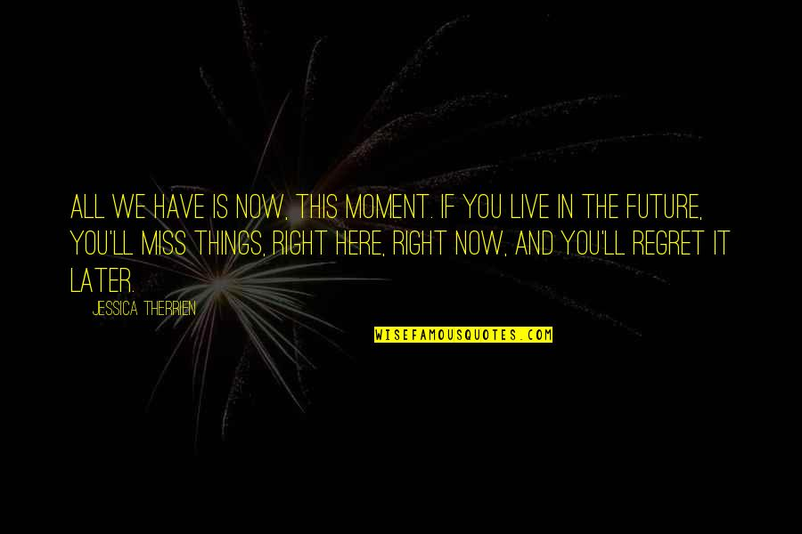 Present In The Moment Quotes By Jessica Therrien: All we have is now, this moment. If