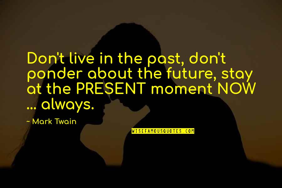 Present In The Moment Quotes By Mark Twain: Don't live in the past, don't ponder about