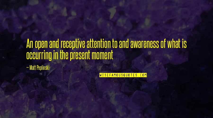 Present In The Moment Quotes By Matt Peplinski: An open and receptive attention to and awareness