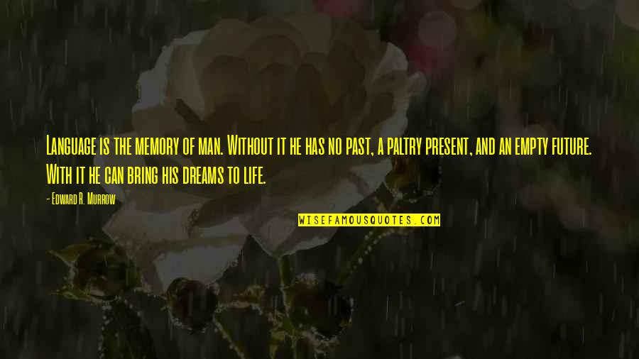Present Life Quotes By Edward R. Murrow: Language is the memory of man. Without it