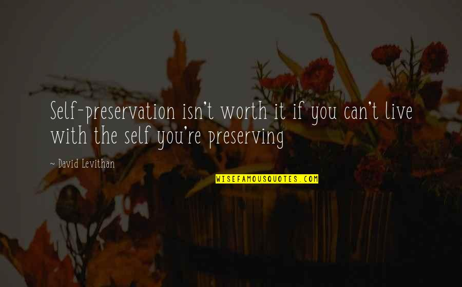 Preserving Quotes By David Levithan: Self-preservation isn't worth it if you can't live