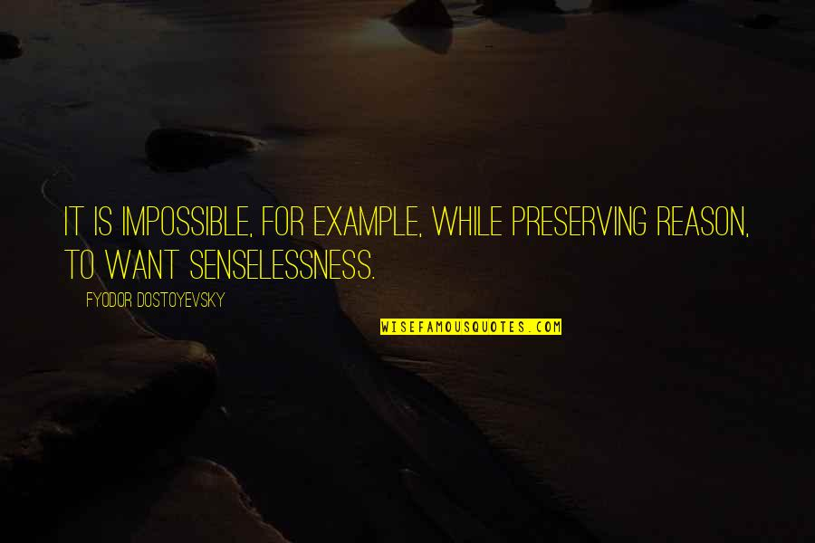 Preserving Quotes By Fyodor Dostoyevsky: It is impossible, for example, while preserving reason,