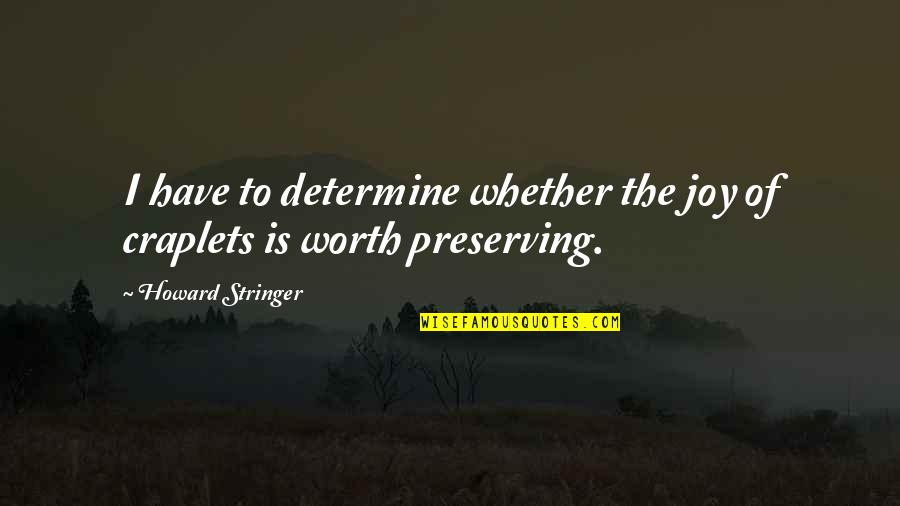 Preserving Quotes By Howard Stringer: I have to determine whether the joy of