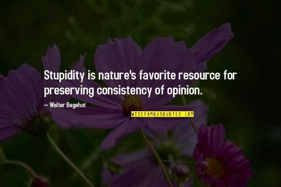 Preserving Quotes By Walter Bagehot: Stupidity is nature's favorite resource for preserving consistency