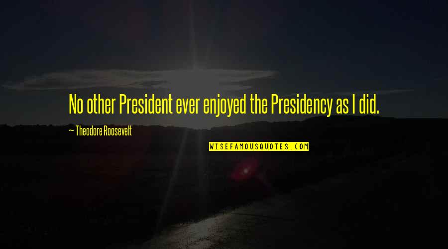 Presidential Presidency Quotes By Theodore Roosevelt: No other President ever enjoyed the Presidency as