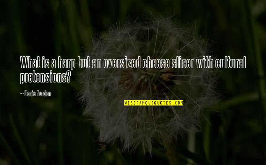 Pretensions Quotes By Denis Norden: What is a harp but an oversized cheese