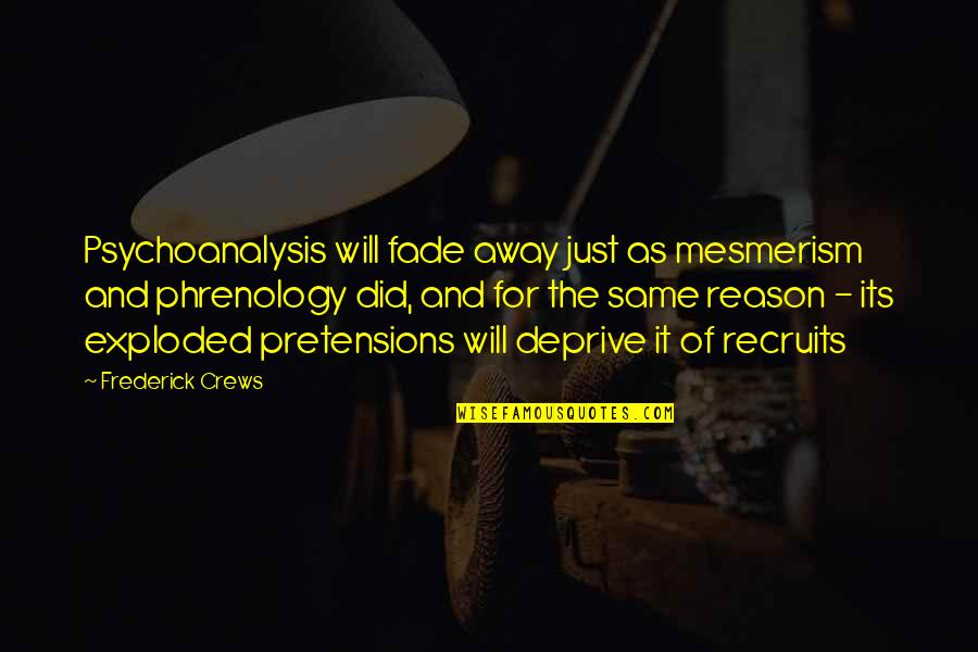 Pretensions Quotes By Frederick Crews: Psychoanalysis will fade away just as mesmerism and