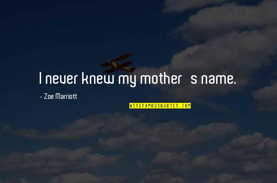 Pretty Mother And Daughter Quotes By Zoe Marriott: I never knew my mother's name.