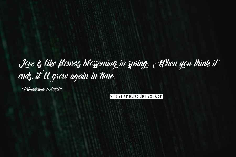 Primadonna Angela quotes: Love is like flowers blossoming in spring. When you think it ends, it'll grow again in time.