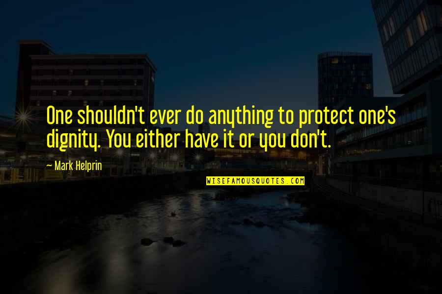 Prince Charming Frog Quotes By Mark Helprin: One shouldn't ever do anything to protect one's