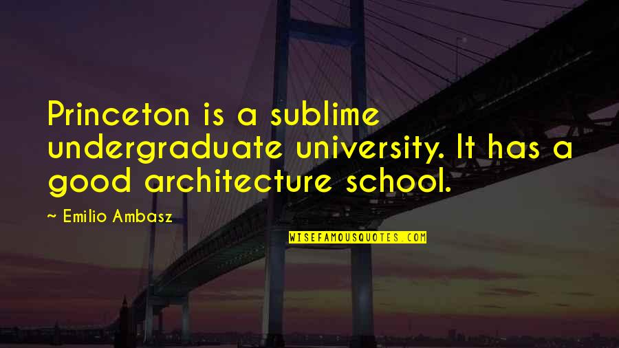 Princeton University Quotes By Emilio Ambasz: Princeton is a sublime undergraduate university. It has