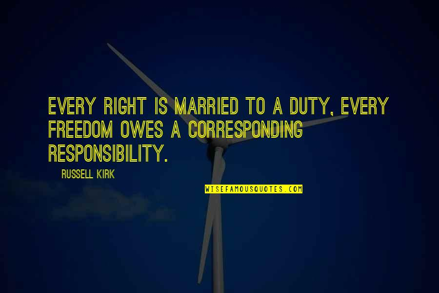 Principled Negotiation Quotes By Russell Kirk: Every right is married to a duty, every