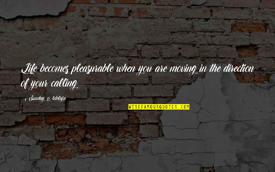Principles Of Life Quotes By Sunday Adelaja: Life becomes pleasurable when you are moving in