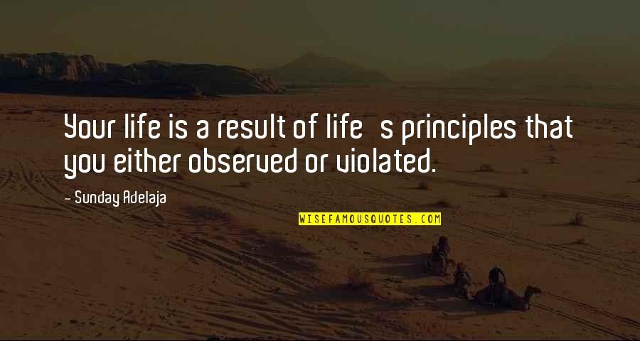 Principles Of Life Quotes By Sunday Adelaja: Your life is a result of life's principles