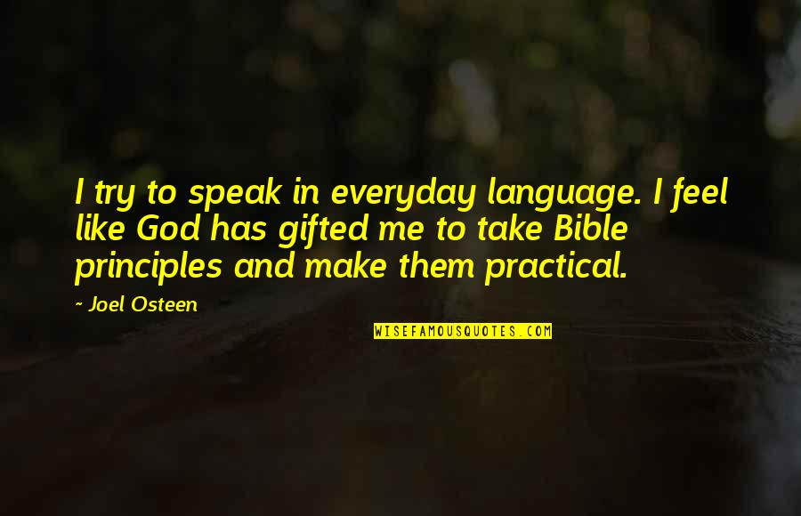 Principles Quotes By Joel Osteen: I try to speak in everyday language. I
