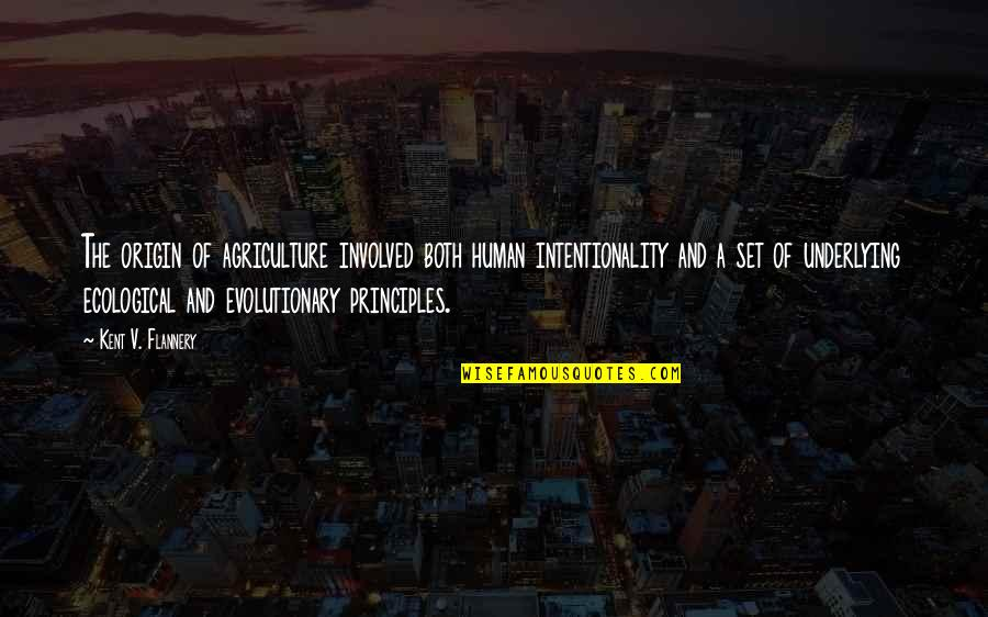 Principles Quotes By Kent V. Flannery: The origin of agriculture involved both human intentionality