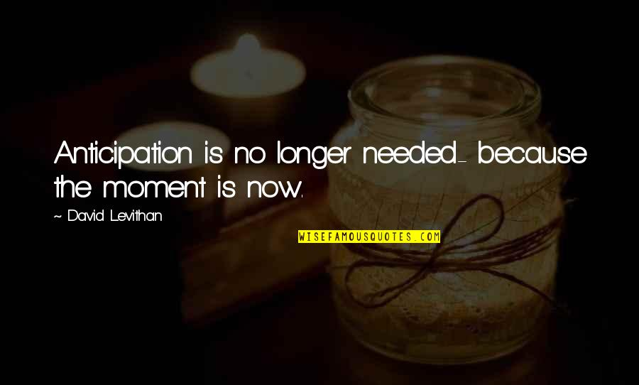 Prinkles Quotes By David Levithan: Anticipation is no longer needed- because the moment