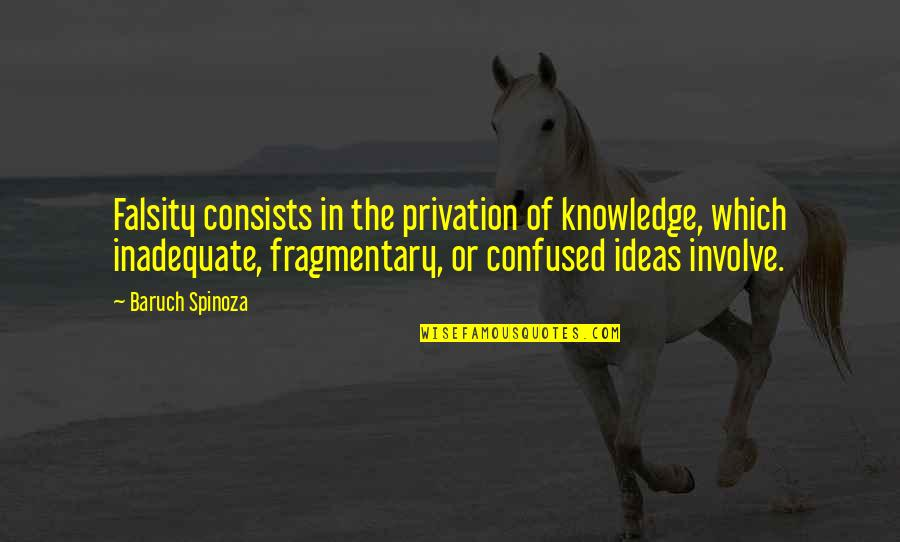 Privation Quotes By Baruch Spinoza: Falsity consists in the privation of knowledge, which