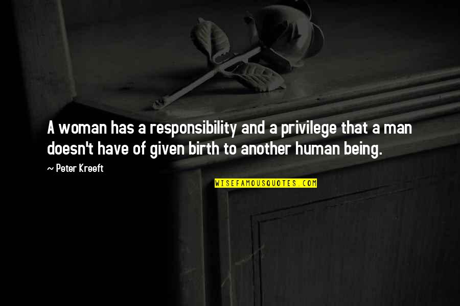 Privilege And Responsibility Quotes By Peter Kreeft: A woman has a responsibility and a privilege