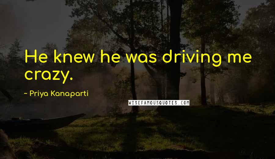 Priya Kanaparti quotes: He knew he was driving me crazy.