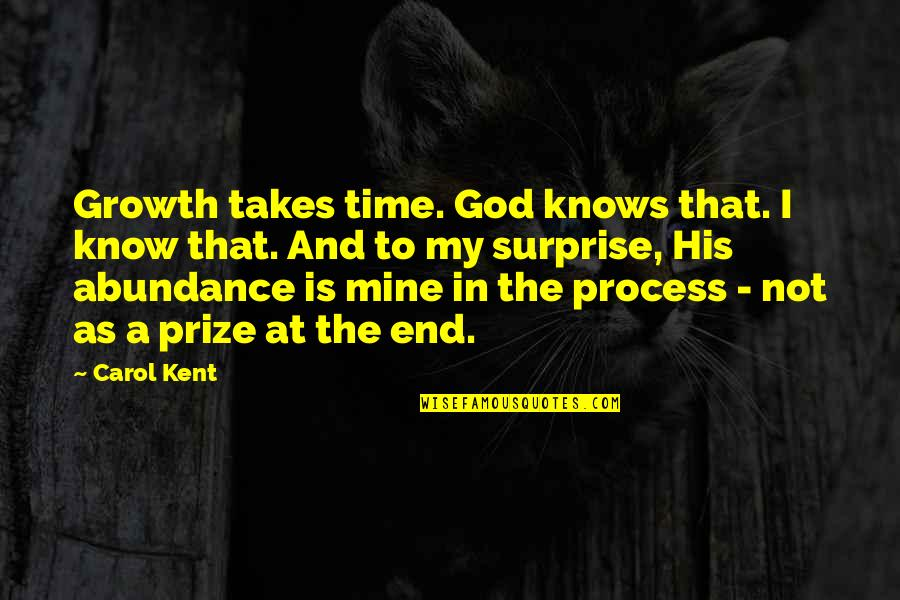 Prize Quotes By Carol Kent: Growth takes time. God knows that. I know