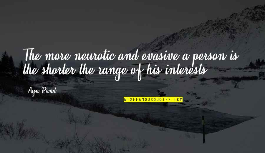 Pro Anthropocentrism Quotes By Ayn Rand: The more neurotic and evasive a person is,
