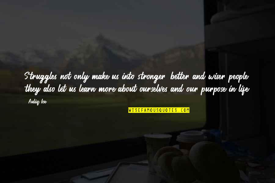 Problems And Struggles Quotes By Auliq Ice: Struggles not only make us into stronger, better