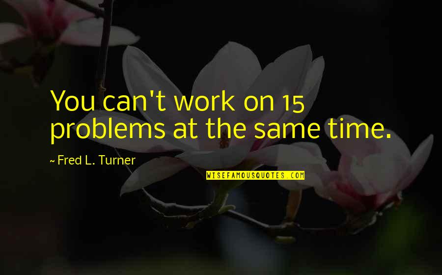 Problems At Work Quotes By Fred L. Turner: You can't work on 15 problems at the