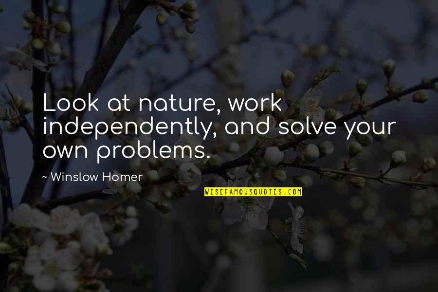 Problems At Work Quotes By Winslow Homer: Look at nature, work independently, and solve your