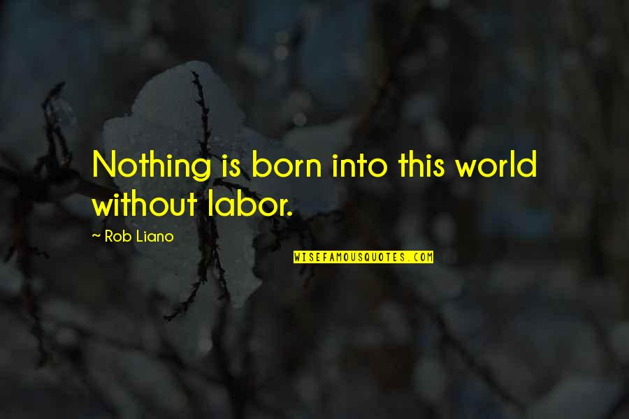 Procrastination At Work Quotes By Rob Liano: Nothing is born into this world without labor.