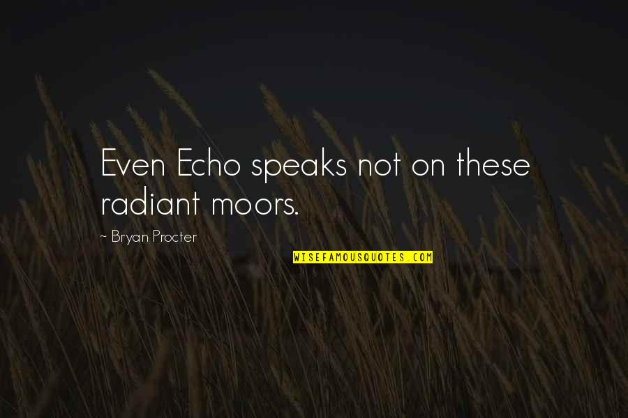 Procter Quotes By Bryan Procter: Even Echo speaks not on these radiant moors.